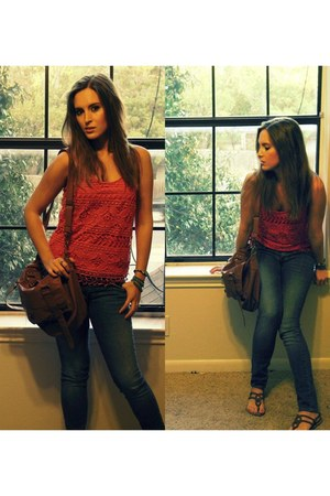 laced Urban Outfitters top - Billabong jeans
