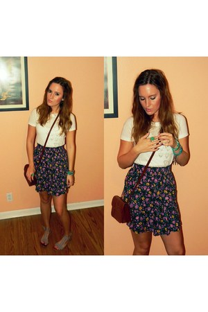 floral print boutique skirt - white Urban Outfitters shirt