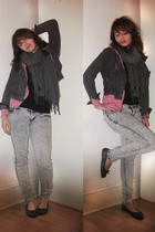 lipservice jeans - thrifted jacket - scarf - Urban Outfitters jacket
