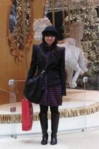 black H&M hat - blue dress - black purse - black Zara blazer - black Giordano La