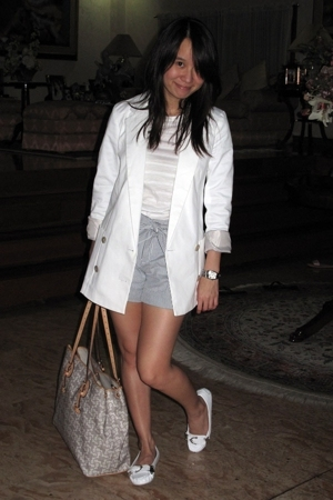 white Zara blazer - white Soda shoes - white Celine purse - blue stripes shorts
