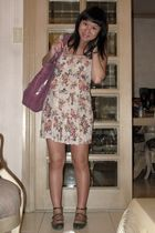 purple Cole Haan purse - beige sm department store dress - green Zara shoes