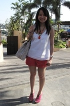 Uniqlo top - U shorts - seibu fashion shoes - Celine purse - necklace