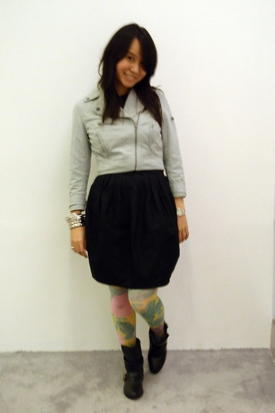 H&M jacket - Plains & Prints dress - H&M stockings - no tag boots