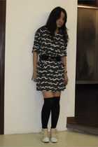 Bab dress - Giordano Ladies belt - H&M socks - boots