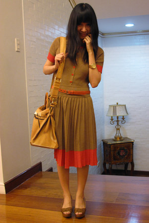brown Marc by Marc Jacobs dress - light brown From China shoes - orange TATA bab