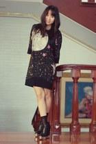 black Tsumori Chisato dress - black socks - black Five By Five wedges
