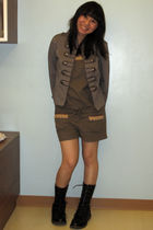 brown H&M jacket - brown shorts - black Forever 21 boots