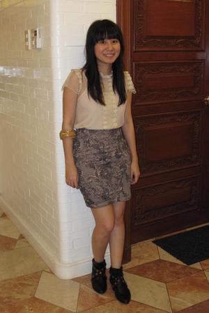 beige sm department store blouse - black cotton on skirt - black Summersault sho
