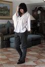 White-top-green-h-m-pants-black-shoes