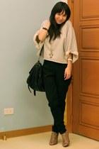 black Summersault bag - heather gray no brand sweatshirt - black skinny Giordano
