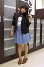Black-polo-blazer-white-uniqlo-t-shirt-blue-skirt-brown-renegade-folks-sho