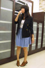 Black-polo-blazer-white-uniqlo-t-shirt-blue-skirt-brown-renegade-folks-sho