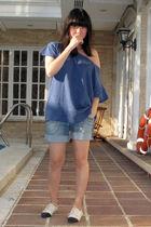 blue Zara t-shirt - blue shorts - white Renegade Folks shoes