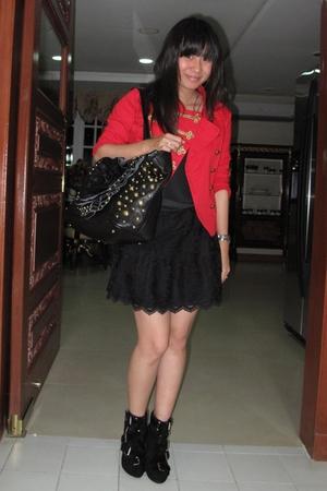 red H&M jacket - black intimate - black Zara skirt - black Summersault boots - b