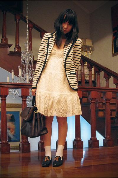 beige lace Bought in Hong Kong dress - beige striped Zara blazer - dark brown le