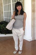 gray Uniqlo top - beige Zara pants - beige 2 shoes - white Celine purse