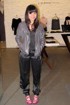 gray Giordano Ladies jacket - black Zara t-shirt - black sm department store pan