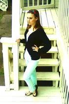 black Gap sweater - white Forever 21 blouse - blue PacSun pants - black Forever