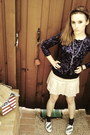 Purple-forever21-cardigan-beige-american-eagle-skirt-blue-keds-shoes