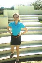 blue Ralph Lauren shirt - black Forever 21 skirt - brown vintage belt - green Ur