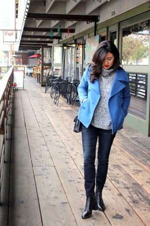 blue coat - black madewell boots - blue madewell jeans
