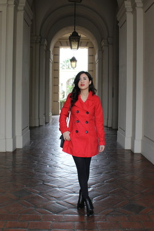 red H&M coat - black madewell boots - dark gray tights - black H&M shorts