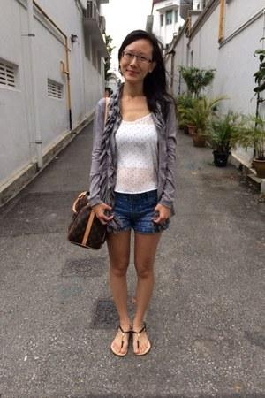 light brown Louis Vuitton bag - sky blue cotton on shorts