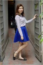 blue Twenty3 skirt - gray Eastpack bag - white Uniqlo top - black taiwan flats