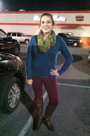 scarf - boots - H&M sweater - Walmart leggings