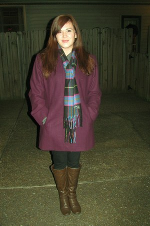 Old Navy sweater - boots - london fogg coat - Walmart leggings - scarf