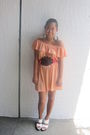Orange-dress-white-shoes-black-belt