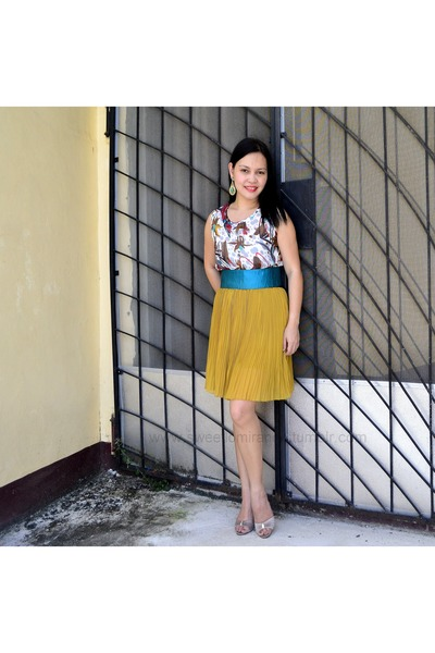 f7ca3db1507 mustard Urban Dressing dress - turquoise blue green obi belt maco belt