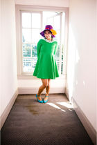 green green baby doll vintage dress - blue dance shoes vintage shoes - purple
