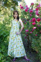 yellow vintage from Sweetrocket99 dress - purple vintage from sweetrocket99 shoe