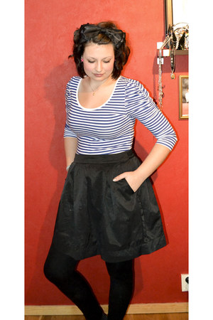 black black skirt - black tights - violet top - black its like silk accessories