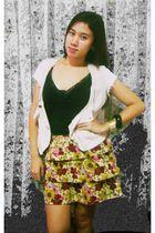 black Bayo top - thrifted skirt - beige thrifted vest