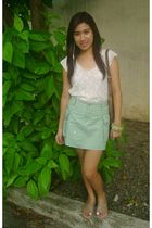 white sheer blouse - green thrifted skirt - silver crossings shoes - brown Louis