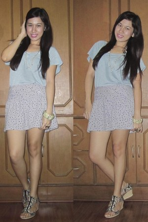 blue floral wedges - heather gray Jellybean skirt - sky blue random brand top
