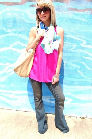 El Vintage scarf - Tinseltown jeans - creme hobo Forever21 bag - Express top