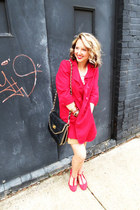 red Forever21 jacket - Bolaro shoes - Miztique bag - belted Forever 21 skirt