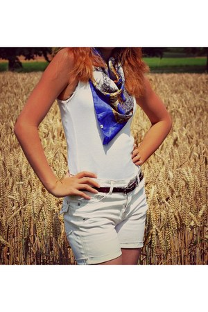 shorts - silk scarf - cotto H&M top - leather belt