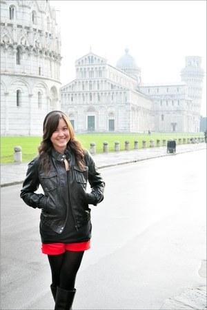 black Eurosko boots - black Terranova jacket - black Forever21 tights - red H&M