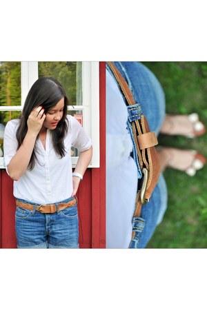 blue denim H&M shorts - tawny braided H&M belt - white H&M blouse