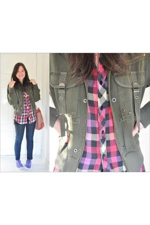 navy Lee jeans - army green states jacket - brown H&M bag - deep purple Bossini
