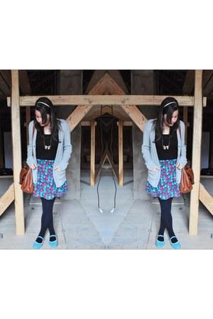 dark brown H&M bag - hot pink Forever 21 skirt - black H&M top - heather gray De