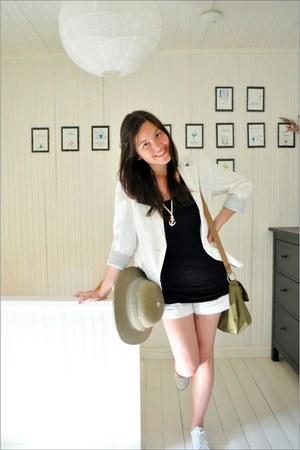 off white MQ blazer - olive green Bogner bag - white H&M shorts - white slim chu