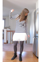 blue Forever 21 shirt - white H&M skirt - gray apt 9 tights - black BC footwear