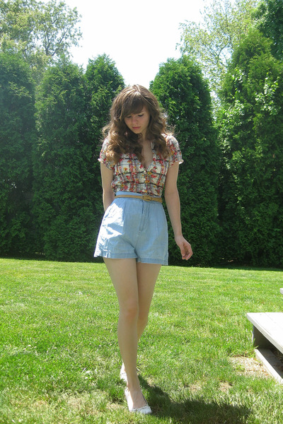 white Self Esteem shirt - blue Old Navy shorts - white payless shoes - beige bel