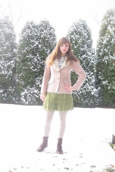 pink Kirkland Hall blazer - gray Hot Topic t-shirt - green Forever 21 skirt - be